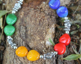 Colorful Glass Nuggets & Sterling Silver Bracelet