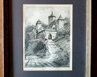 Vintage German Etching by Eizenhandig, Kunstler Original Etching, German Etchings, Original Art, Original Etching