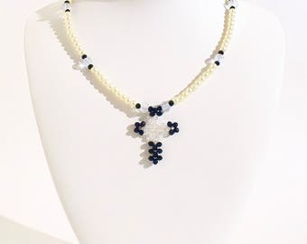 Faux Pearl and Black Beaded Cross Necklace- crafted by Nepalese human trafficking victims