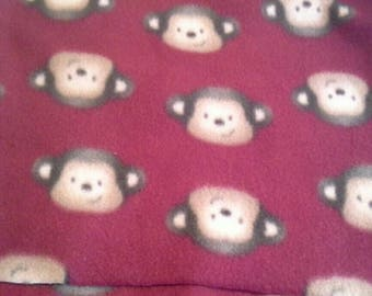 Monkey Faces on Dark Red Background Fleece 1 Yard X1141