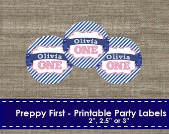 Preppy Navy and Pink Party Labels - DIY - Printable