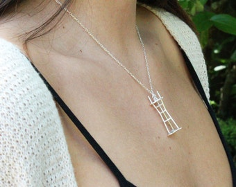 Sutro Tower Necklace - 3D Printed Sterling Silver