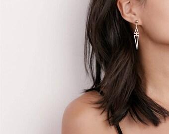 Open Diamond Dangle Earrings - Pave Triangle Earrings - Statement Earrings