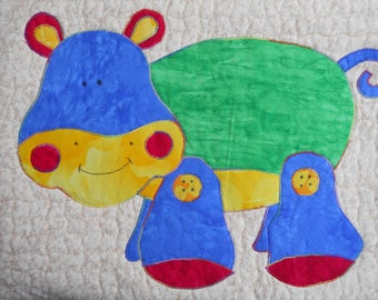 Red Green and Blue Toy Hippo Pillow for Kids