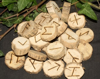 RARE GORSE Wood Elder Futhark Runes - With Bag & Information Sheet - Pyrographed - Pagan, Wicca, Witchcraft, Norse