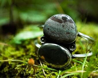Pyrite and Boulder Opal Cuff/ Silver Bracelet