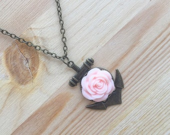 Anchor Necklace, Flower Necklace, Anchor and Flower Necklace, Nautical Necklace, Pink Flower Necklace, Beach Bum, Beach Life, Floral