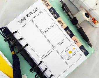 PRINTED Personal Size | Medium Day on One Page DO1P dated planner inserts | day to a page | daily calendar | planner refill Kikki K Filofax