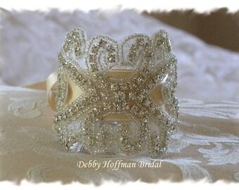 Bridal Cuff Bracelet, Crystal Wedding Bracelet, Jeweled Bridal Cuff, Wedding Cuff Bracelet, Rhinestone Wedding Bracelet Cuff, No. 2011CB