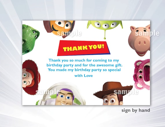 Toy Story Thank you card Toy Story Birthday Party Toy