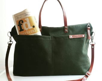 Waxed Canvas Weekender Tote Bag, Army Green waxed tote, forest green messenger bag, green waxed bag, waxed canvas handbag, waxed canvas tote