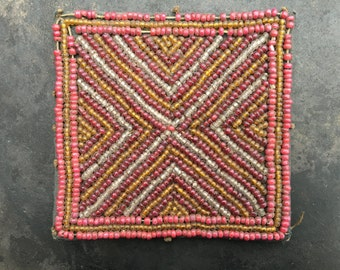 Antique Lampung beaded box top panel, wonderful beadwork