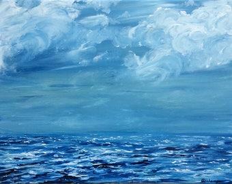 "Acrylic Painting Original Seascape // ""Seas the Day"" 11 x 14"" on Canvas // Wall Art"