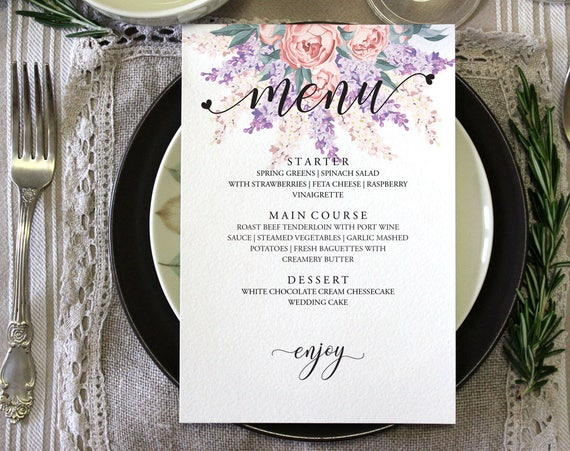 Hochzeit Menü Vorlage Abendessen Hochzeitsmenü rustikale