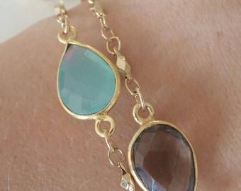 Best seller! gemstone teardrop aqua quartz gold chain bracelet. Stackable. delicate. Simple. Non tarnish chain. Adjustable. Minimalist. Boho