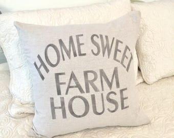 Home sweet farmhouse pillow cover - housewarming gift - farmhouse style pillow - wedding gift - natural pillow case