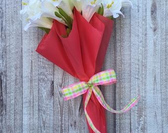 Spring Door Wreath, Easter Door Hanger, Easter Decor, Umbrella Wreath, Umbrella Door Hanger, Spring Door Hanger, Lily Wreath