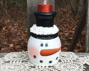 Snowman wine glass candle holder, hand painted Christmas decor, best selling items, birthday gift for her, Valentines day gift for her