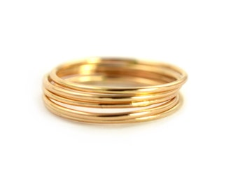 Skinny Ring Set of 5, Ring Threads, Stackable Midi Ring
