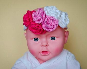 Flower headband, crochet headband, baby girl, hair accessory, toddler headpiece, baby shower, pink white, photo prop, cotton yarn, ombre