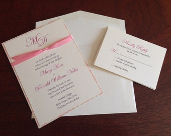 Traditional Monogramed two layered Wedding Invitation with Satin Ribbon