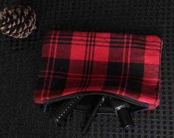 pouch. Red Black Plaid clutch