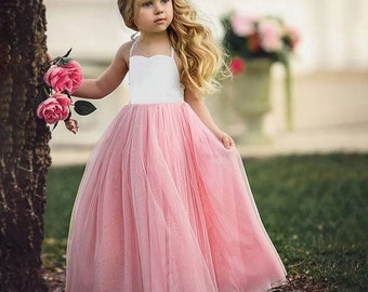 Beautiful long party dress wedding dress tutu dress evening dress holiday for little girl baby girl 2t to 6y