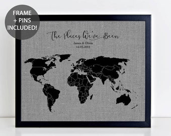 World map art etsy the places weve been pushpin map framed fabric map including pushpins personalised gumiabroncs Choice Image