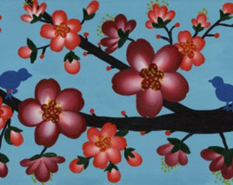 Two Is Better Than One Red Cherry Blossom Poster Print - Unique Wall Art Christmas Cherry Blossom Acrylic Painting