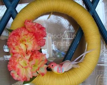 Yarn Wrapped Spring Wreath - 9.8 in Wreath