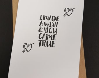 I made a wish & you came true, gay boyfriend card, gay greeting card, gay Couple, gay husband Card, lesbian card, lesbian wife, mrs mrs