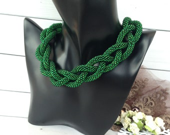 Green jewelry necklace Long seed baded Jewelry  Gift for her Gift for girlfriend Mothers day gift