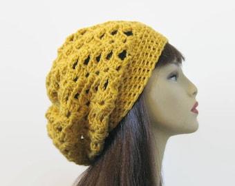 Crochet Slouchy mustard hat Gold Crochet women's Hat Yellow beanie Mustard Slouch Hat Gold knit beanie Mustard slouchy hat gold tam