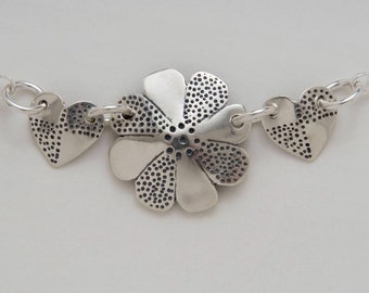 Silver Flower Hearts Necklace made from 3 Vintage American Silver Coins