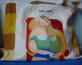 Spacious bag in hand painted cotton canvas Picasso
