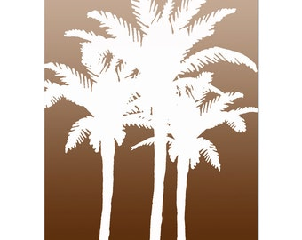 Palm Medley - 8x10 Palm Tree Silhouette Tropical Print - Ombre Color Fade - CHOOSE YOUR COLORS