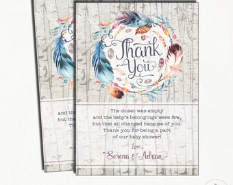Boho Thank You Card. Rustic Feather Baby Shower Printable Thank You Notes. Feathers. Tribal Baby Shower. Bohemian Baby Shower Favors. BOHO1