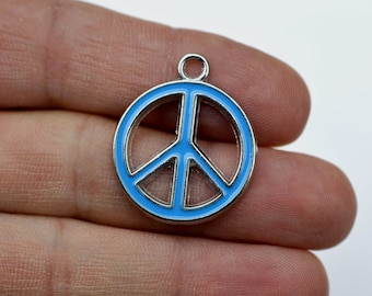Bulk 50 peace sign charms silver peace sign charms bulk charms 5 8 peace sign blue enameled charms ench 105b zinc alloy enameled pendants peace sign zinc alloy silver enameled necklace pendants mozeypictures Image collections