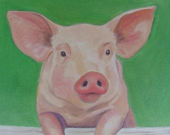 Pig Painting Pig Whimsical Pig on Canvas Pig Art Farm Animal Art Pig Oil Painting Kitchen Decor Kid's Decor Pig Original Oil Karen Snider