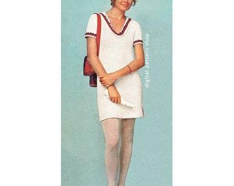 Crochet Dress Pattern Nautical Sailor Dress Crochet Pattern Womens Skimmer Midi Dress or Tunic PDF Instant Download Size 8-14 C116
