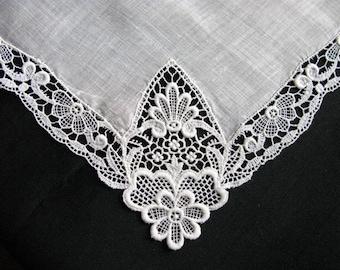 Handkerchief Linen Hankerchief Ivory Lace Hankie