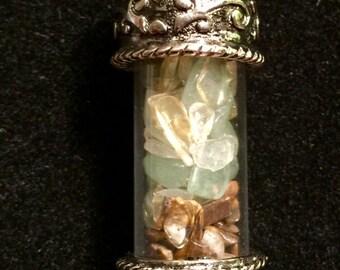 Gem filled capsule necklace