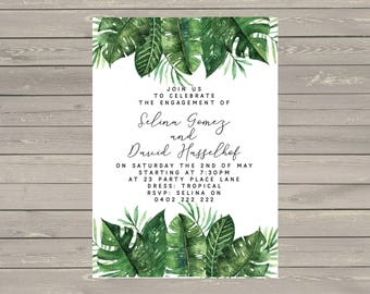 Printable 5x7 Custom Engagement Wedding Invitations Tropical