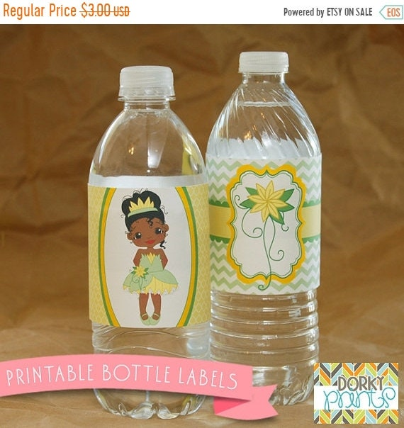 Princess Tiana Water Bottle Labels