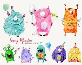 Watercolor monster, Sweet monsters, funny monster, cute monster