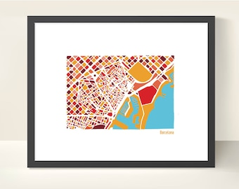 Barcelona Spain City Map - Original illustration Print