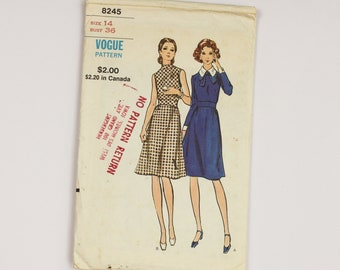 1960s Dress Sewing Pattern sleeveless and long sleeves Vogue 8245 from USA