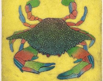 Blue Crab Art, Original Collograph Print, Seaside Art, Sealife Art - Blue Crab on Yellow 17