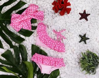 0M-9Years Pink dots swimsuit Baby swimwear Girls swimwear Kids swimsuit Baby girl swimsuit Baby swim suit Toddler Swimsuit Baby swimming