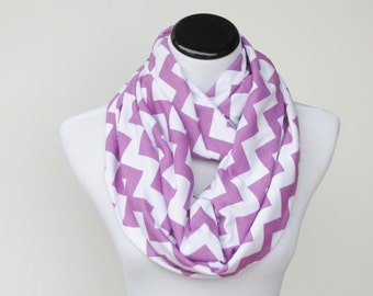 Purple Scarf Radiant Orchid Chevron Infinity Scarf zigzag scarf lilac purple circle scarf loop scarf for her mom and girl